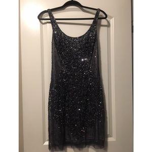 Adrianna Papell Dark Blue Sequin Dress